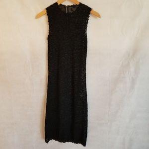 1970s Unlabeled Black See Thru Knit Dress